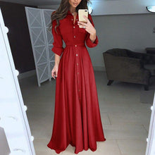 Load image into Gallery viewer, Nesa Fashion Long Shirt Dress Plus Size Long Sleeves High Waist Belted Maxi Dress Autumn Winter Vintage Retro Party Vestidos 4xl 5xl