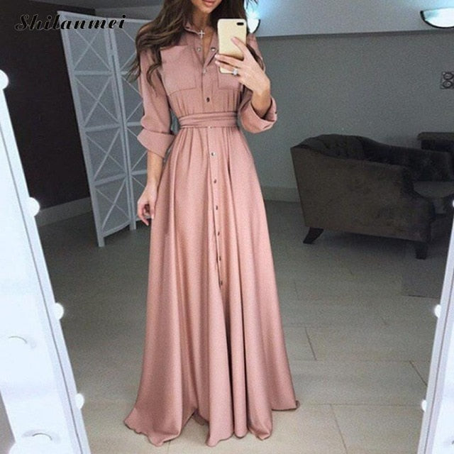Nesa Fashion Long Shirt Dress Plus Size Long Sleeves High Waist Belted Maxi Dress Autumn Winter Vintage Retro Party Vestidos 4xl 5xl