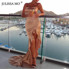 Load image into Gallery viewer, Nesa Fashion Sexy Split Maxi Dress Women Strap Bodycon Trumpet Long Dresses Elegant Christmas Party Vestidos