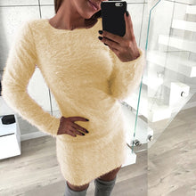 Load image into Gallery viewer, Nesa Fashion Women Faux Fur Sweater Dress Autumn Winter Warm Long Sleeve Stretch Casual Party Sexy Bodycon Mini Vestido Plus Size