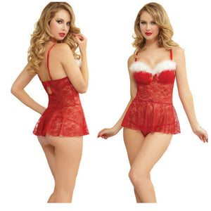 Nesa Fashion Women Mini Dress  Christmas Costume Adult Cosplay Sexy Lace Appeal Erotic Dress Attractive Ladies's Dress