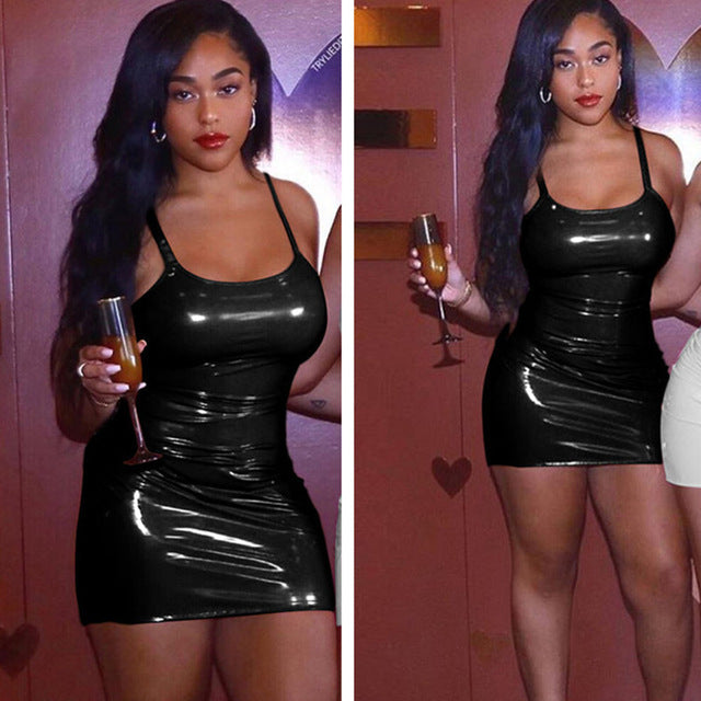 Nesa Fashion Leather Sexy Bodycon Dresses Woman Party Night Club Wear Winter Dress Black White Mini Bandage Dress