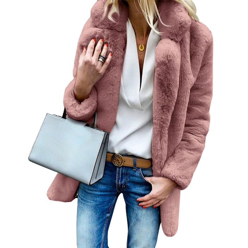 Nesa Fashion Women's Solid Color Knitted Overcoat Winter Warm Long-Sleeved Lapel Jacket Women's Fluffy Faux Fur Cardigan Thicken Coat