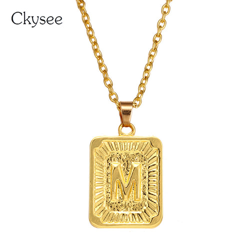 Nesa Fashion  New Punk Alloy Necklace Golden Alphabet Pendant Necklace Square Letter Chain Jewelry Gifts For Men Women