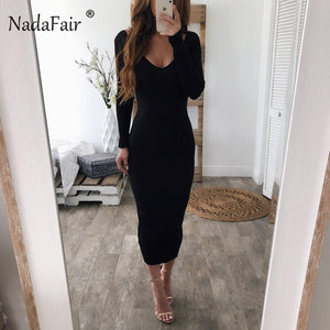 Nesa Fashion women pencil sexy knitted long dresses v neck long sleeve slim bodycon winter dress female stretchy midi party dress