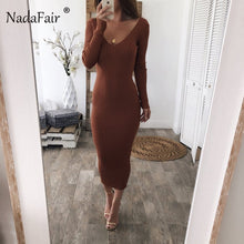 Load image into Gallery viewer, Nesa Fashion women pencil sexy knitted long dresses v neck long sleeve slim bodycon winter dress female stretchy midi party dress