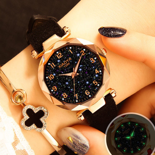Nesa Fashion Luxury Starry Sky Watch For Women Fashion Ladies Quartz Wristwatch Red Leather Waterproof Clock