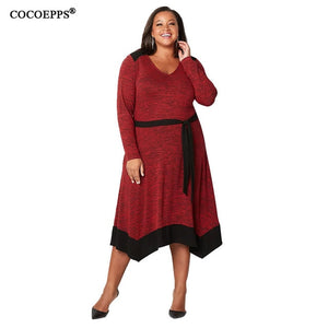 Nesa Fashion Big Size Midi Women Dress 4xl 5xl Plus Size Winter Dress