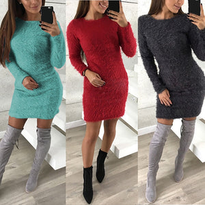 Nesa Fashion Sexy Bodycon Dress Women Knitted Sweater Female Casual Top Pull Femme Long Sleeve Pullover Solid Mini Vestido Oversized