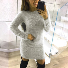Load image into Gallery viewer, Nesa Fashion Sexy Bodycon Dress Women Knitted Sweater Female Casual Top Pull Femme Long Sleeve Pullover Solid Mini Vestido Oversized
