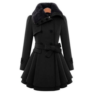 Nesa Fashion Style woman wool blend double breasted coats casual winter autumn warm elegant a-line long sleeve long female coats