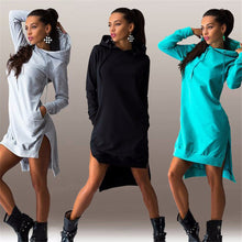Load image into Gallery viewer, Nesa Fashion Ladies Long Hoodie Dress Casual Hooded Pockets Sportswear Female Fashion Women Clothing