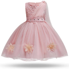 Load image into Gallery viewer, Nesa Fashion Kids Girl Flower Petals Dress Children Elegant Dress for Girl Oblique shoulder Tulle Party Prom Princess Outfits