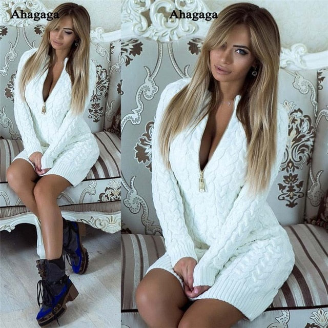 Nesa Fashion Winter Spring Dress Women Dress    Fashion Solid Regular Zippers Knitted Sexy Club Slim  Dress