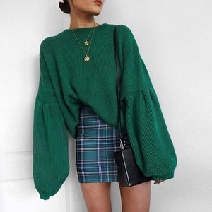 Nesa Fashion Style  autumn and winter hot sale women solid sweaters computer knitted comfortable loose pullover O-neck female sweaters