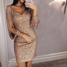Load image into Gallery viewer, Nesa Fashion Gold Silver Women Sexy Tassel Sequin Party Dress Slit Sleeve V-neck Club Mini Dress  Long Sleeve Elegant Sparkly Dress