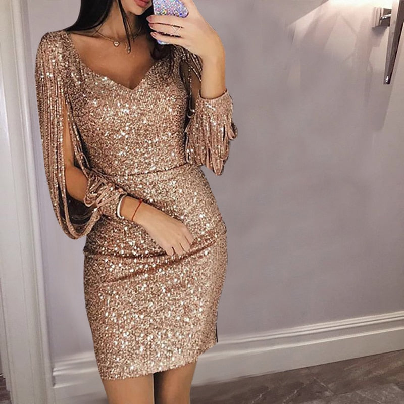 1af1aaa6 Load image into Gallery viewer, Nesa Fashion Gold Silver Women Sexy Tassel  Sequin Party Dress ...
