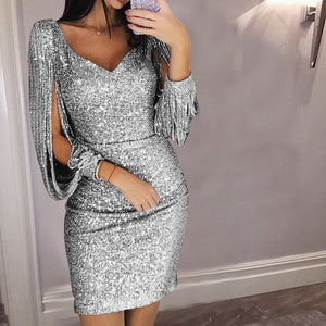 Nesa Fashion Gold Silver Women Sexy Tassel Sequin Party Dress Slit Sleeve V-neck Club Mini Dress  Long Sleeve Elegant Sparkly Dress