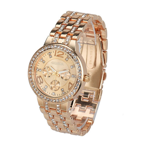 Nesa Fashion  Luxury Crystal Quartz Rhinestone Crystal Wrist Watch Casual Women Ladies watch Gold Clock