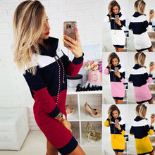 Load image into Gallery viewer, Nesa Fashion Women Collared Long Sleeve Dress Ladies Casual Bodycon Short Mini Sundress