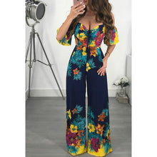 Load image into Gallery viewer, Nesa Fashion New Women's Floral Print Deep V-neck And  Strapless   Style Bodysuit Party Jumpsuit