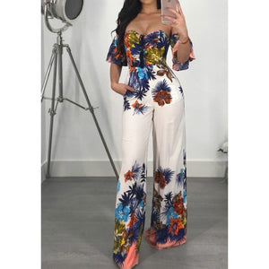 Nesa Fashion New Women's Floral Print Deep V-neck And  Strapless   Style Bodysuit Party Jumpsuit