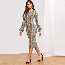 Load image into Gallery viewer, Nesa Fashion Snake Skin Bell Sleeve Multi-color Round Neck Long Sleeve Fit and Flare Dress Women Casual Modern Lady Dress