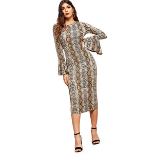 Nesa Fashion Snake Skin Bell Sleeve Multi-color Round Neck Long Sleeve Fit and Flare Dress Women Casual Modern Lady Dress