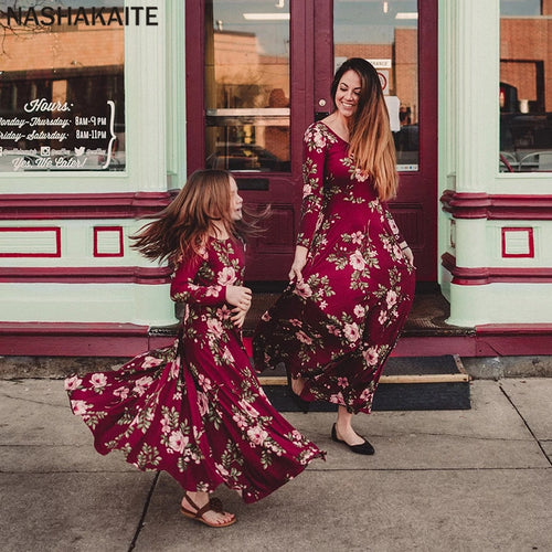 Nesa Fashion Mother daughter dresses Wine Floral Long Vestidos Mother and daughter clothes Mom and daughter dress Family matching clothes