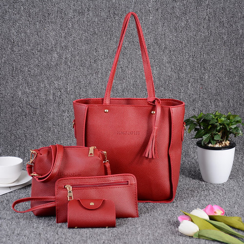 Nesa Fashion Women Leather Casual Solid Color  Four-piece Female Shoulder Bag