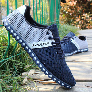 Nesa Fashion Men Casual Shoes Spring Air Mesh Fabric Cloth Patchwork Mens Loafers Leisure Canvas Shoe For Men Cool Walk Shoes Big Size