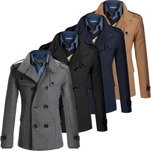Nesa Fashion NEW Men Winter Warm Trench Woolen Coat Slim Fit Casual Reefer Jackets Solid Stand Collar Double Breasted Coat