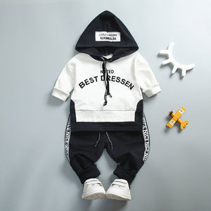 Nesa Fashion Spring Autumn Cotton Clothes Sets Baby Girls Boys Sports Hooded T Shirt Sweatshirt  Pants 2pcs Children Kids Casual Suits
