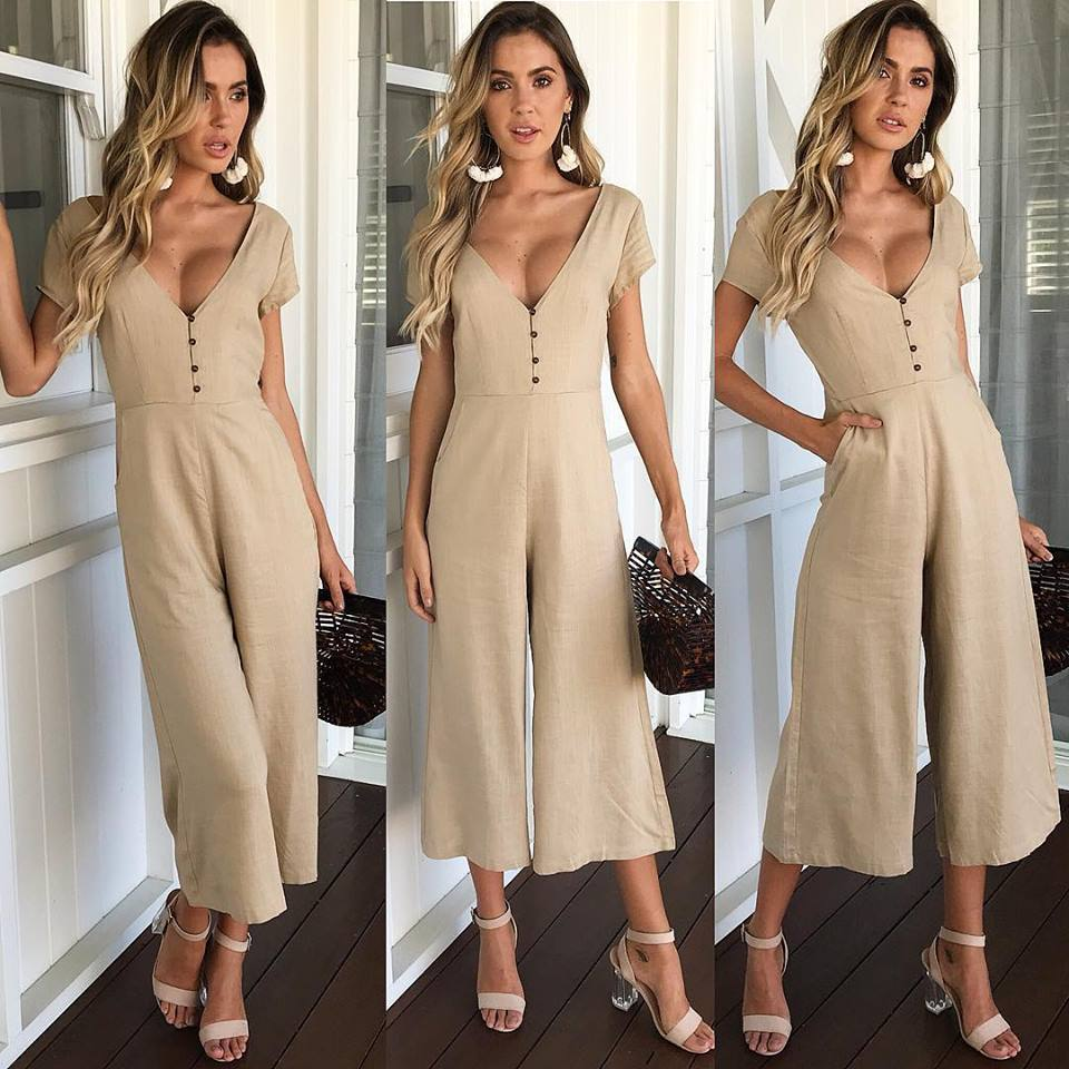 0bb7682ed991 Nesa Fashion Solid Sexy Long Jumpsuits V Neck Short Sleeve Casual Butt