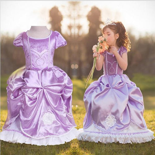 Nesa Fashion New design Princess Girls Dress Kid Elsa Print Cosplay Anna Little Girl Dress Costume for Children Dress