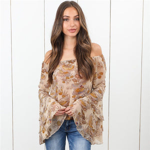 Nesa Fashion Sexy Women Boho Off Shoulder Blouse Tops Casual Floral Print Blouse Polyester Long Sleeve Shirts Flare Sleeve Shirts Tees