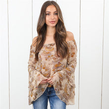 Load image into Gallery viewer, Nesa Fashion Sexy Women Boho Off Shoulder Blouse Tops Casual Floral Print Blouse Polyester Long Sleeve Shirts Flare Sleeve Shirts Tees