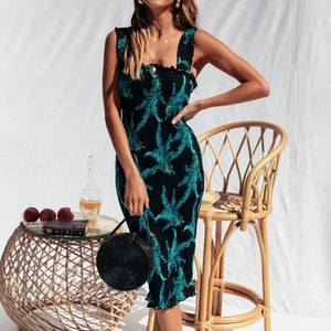 Nesa Fashion Women Floral Print Backless Bodycon Dress Sexy Wide Strap Elastic Bust Slim Party Dress Elegant Summer Ruffles Midi Beach Dress