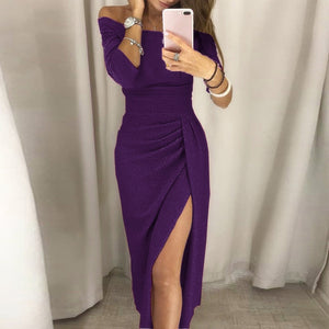 Nesa  Fashion Spring Summer Women Off Shoulder High Slit Bodycon Dress Short Sleeve Bodycon Slim Split Dresses Robe Femme