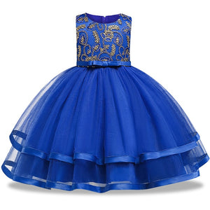Nesa Fashion Flower Dress Kids Clothing Elegant hand beading Girls Dresses for Children Princess Party Dress 2-10 Years