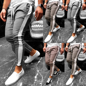 Nesa Fashion Men Plaid Casual Pant Male White Side Streetwear Fashion Hip Hop Harem Trousers Elastic Waist Jogger Sweatpants Size M-XXL