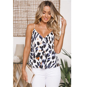 Nesa Fashion Newly Arrival Ladies Leopard Printed Sleeveless Women Tank Fashion Style V Neck Sexy Female Girls Tanks