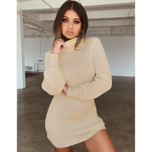 Load image into Gallery viewer, Nesa Fashion New  Women Turtleneck Knitwear High Neck Sweater Dress Lady Fashion Casual Long Sleeve Sweater Jumper Winter Dress