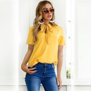 Nesa Fashion Office Bow Tie Blouse Women Lantern Sleeve Yellow Bows Necktie Shirts Female Elegant Work Shirt Casual Tops Spring Chiffon Top