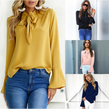 Load image into Gallery viewer, Nesa Fashion Office Bow Tie Blouse Women Lantern Sleeve Yellow Bows Necktie Shirts Female Elegant Work Shirt Casual Tops Spring Chiffon Top
