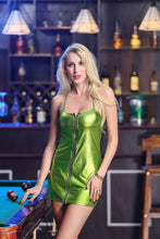 Load image into Gallery viewer, Nesa Fashion Sexy Women PU Leather Short Mini Dress Zipper Sleeveless Strapless Bodycon Nightwear Club-wear Hot