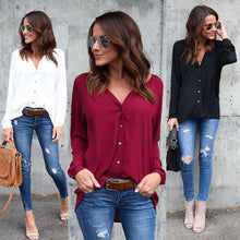 Load image into Gallery viewer, Nesa Fashion Spring Autumn New Women Ladies Long Sleeve Loose Blouse Summer V Neck Casual Shirt Tops Stylish Womens Loose Blouses