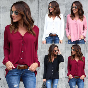 Nesa Fashion Spring Autumn New Women Ladies Long Sleeve Loose Blouse Summer V Neck Casual Shirt Tops Stylish Womens Loose Blouses