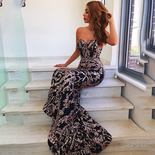 Nesa Fashion Evening Backless Body con Dress Women Strapless Long Maxi Party Dresses Elegant Off Shoulder Sequin Dress