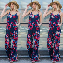 Load image into Gallery viewer, Nesa Fashion Summer Women Casual Loose Ptint Drawstring Belt Long Rompers Sexy Spaghetti Strap Off Shoulder Jumpsuits Female S-3XL